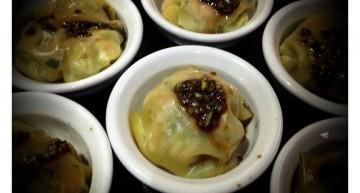 Ravioli de llagostins amb verduretes i vinagreta de mostassa antiga i soja