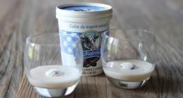 Batut de plàtan amb gelat de iogurt amb xocolata i cruixent de cacau de la Fageda
