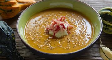 Crema de carbassa i moniato amb ou poxé i pernil (Som gent de profit)