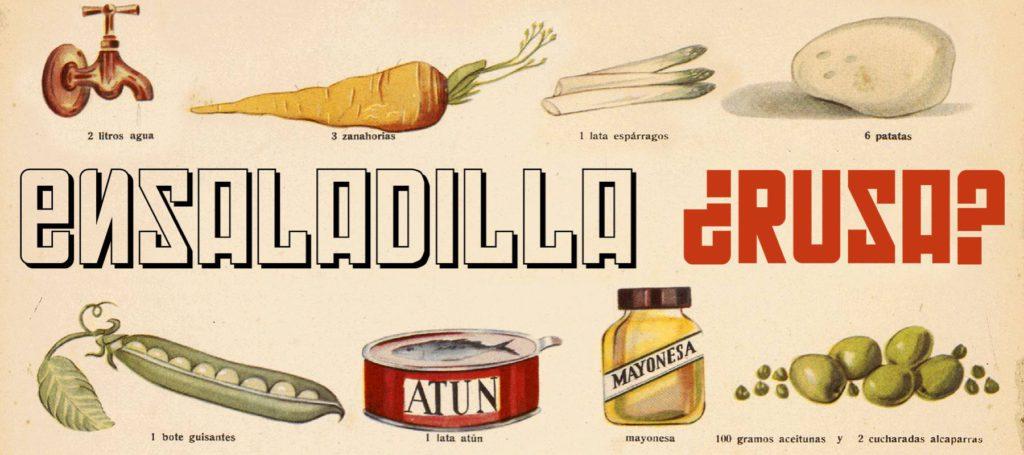 Ingredients de l'ensalada russa, Sant Sebastià, anys 50. CUINA GRÀFICA Waly / BISCAYENNE